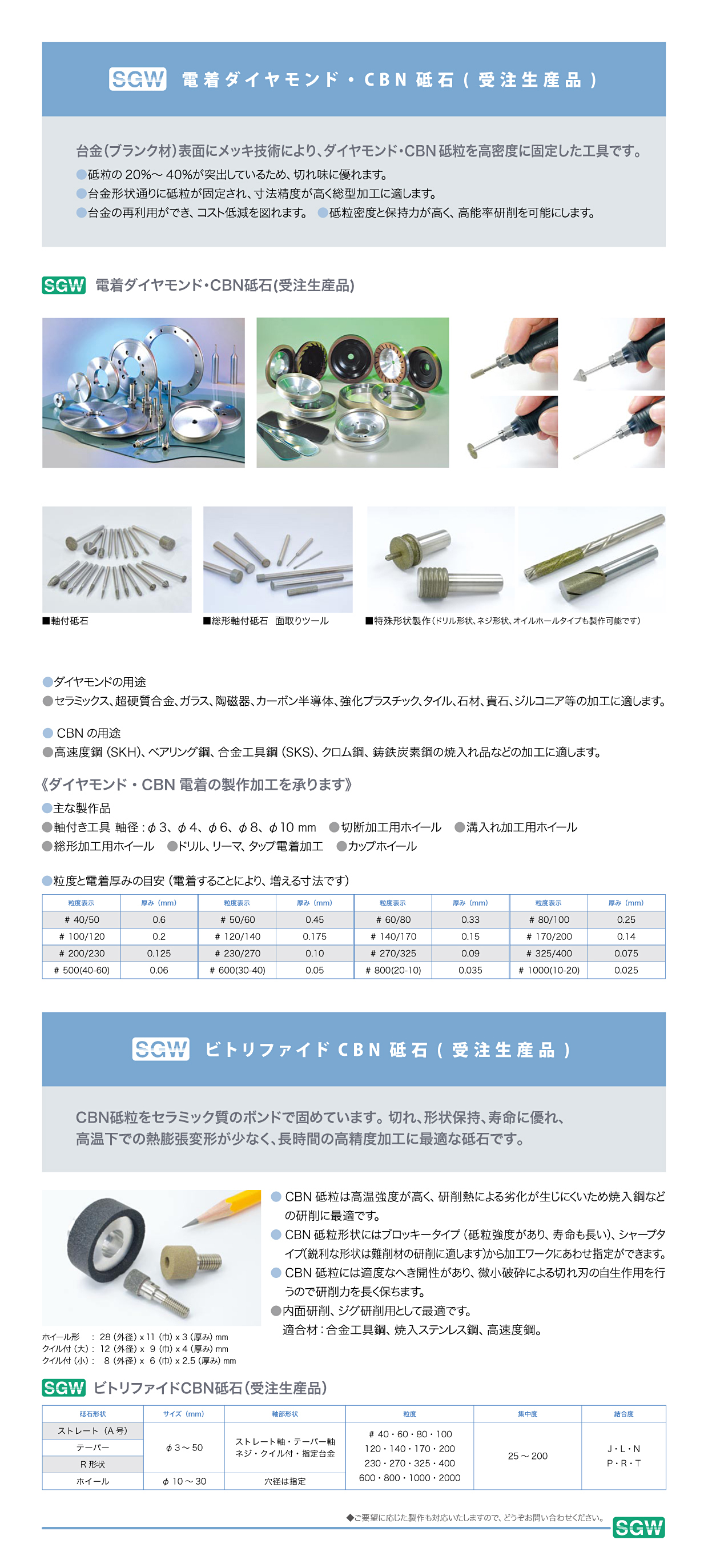 電着ダイヤモンド・cBN砥石製品1